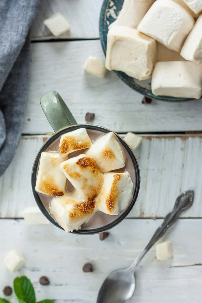 roasted paleo marshmallows in a mug of hot cocoa
